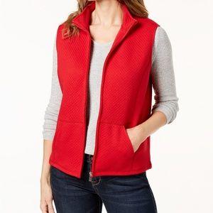 Karen Scott Quilted vest, Size L, Color Red